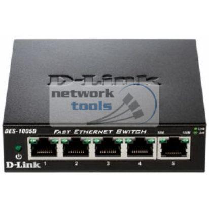 D-Link DES-1005D Коммутатор неуправляемый 5-портовый 100Мбит