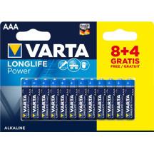 Varta Longlife Power AAA BLI 12 (8+4) Alkaline Батарейка