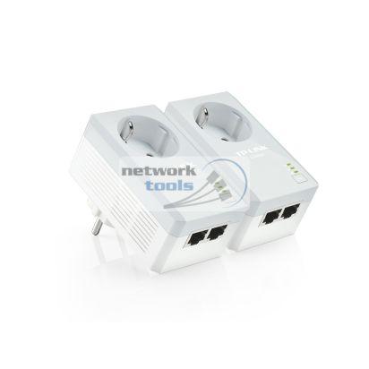 TP-Link TL-PA4020PKIT Комплект 2-портовых адаптеров Powerline до 500 Мбит/с со встроенной розеткой