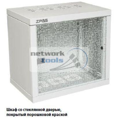 """Шкаф ZPAS 19"""" 10U 600x600 Z-BOX, съемные бок.стенки, стекл.дверь, 100kg max, серый"""