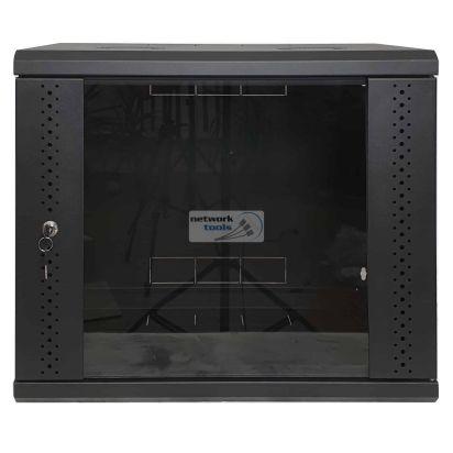 Настенный серверный шкаф 9U, стекло, черный