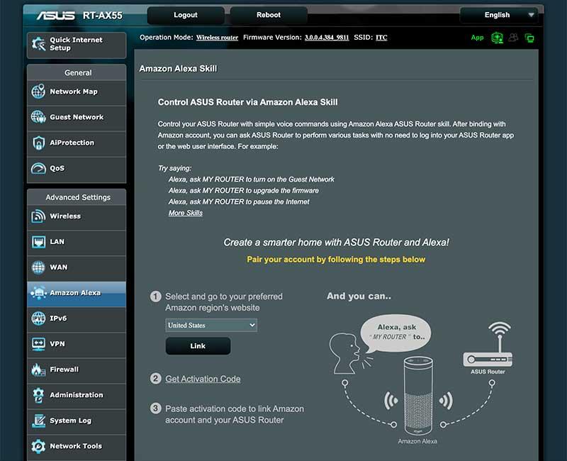 Активация Amazon Alexa в RT-AX55